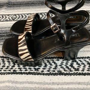 Vintage 90's Style Chunky Platform Zebra Sandal
